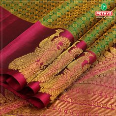 Here is the best bridal green and pink saree with peacock on the border. Pattu Sarees Wedding, Designer Sarees Wedding, Wedding Saree Blouse Designs, Pattu Saree Blouse Designs, Indian Bridal Sarees, Wedding Silk Saree, Indian Silk Sarees, Pure Silk Sarees, South Indian Sarees