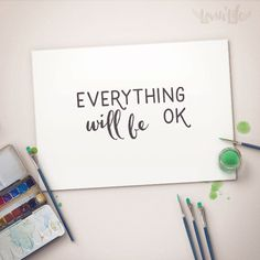 Everything Will be Ok Quotes Print Wall Decor by LOVINLIFESUPPLIES