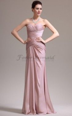 Gorgeous Nude Pink Trumpet/Mermaid Sweetheart Floor Length Satin Chiffon Bridesmaid Dresses(CBD08072)