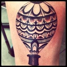 The top hat is a nice touch - Hot Air Balloon tattoo