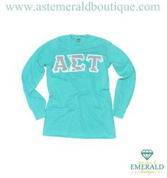 Alpha Sigma Tau long sleeve with sewn on letters! Chalky mint unisex long sleeve with gray and white Anchor patterned sewn on letters!