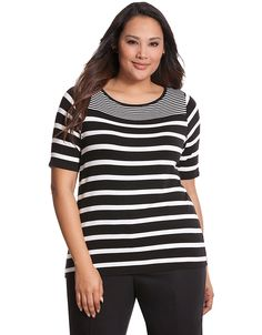Striped delicate ribbed tee by Lane Bryant | Lane Bryant Cute but more length please missing 2-3 inches