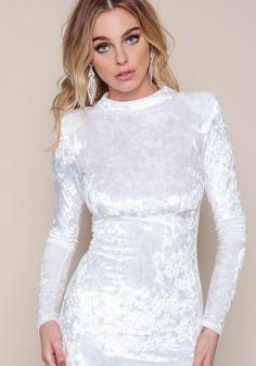 White Velvet Crush Mini Dress - Love Culture