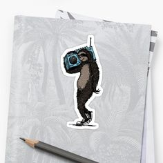 An funny and humorous artsy drawing of a sloth or bear carrying an old school radio or a boombox playing some music or songs. Retro pop and Pop culture style of Diardo Arts. Old School Radio, Retro Pop, Cool Stickers, Boombox, Sell Your Art, Sticker Design, Sloth, Pop Culture, Finding Yourself