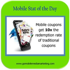 Mobile Coupons get 10x the redemption rate of traditional coupons.  http://www.gomobilemediamarketing.com/mobile-coupons/