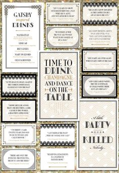 Gatsby Inspired Birthday Party Printables by ihearttoparty on Etsy