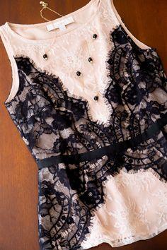 Stitchfix: I really love this top --- I like the black/cream contrast and lace material/black seam Work Fashion, Fashion Beauty, Fashion Outfits, Fashion Weeks, Paris Fashion, Womens Fashion, Petite Fashion, Street Fashion, Work Wardrobe