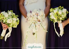 Using more green in the bridesmaid's bouquets may look better than just white.