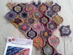 Ravelry: Project Gallery for Mystical Lanterns Shawl pattern by Jane Crowfoot Crochet Blocks, Crochet Squares, Crochet Motif, Crochet Shawl, Crochet Designs, Knit Crochet, Crochet Patterns, Dishcloth Knitting Patterns, Mohair Yarn