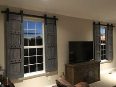 Interior Window Barn Door - Sliding Shutters - Barn Door Shutters with Hardware - Farmhouse Style - Rustic Wood Shutter - Barn Door Package - Home Projects We Love Interior Windows, Interior Barn Doors, Interior Design Minimalist, Design Apartment, Rustic Decor, Rustic Wood, Modern Decor, Rustic Barn, Rustic Lake Houses
