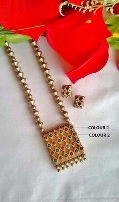 Ethnic Square Pendant Teracotta Jewelry Set