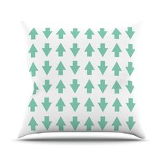 "Project M ""Arrows Up and Down Mint"" Throw Pillow 