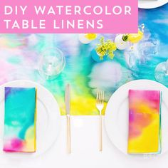 Watch this style DIY video tutorial to learn how to make easy watercolor linens that won't wash out.