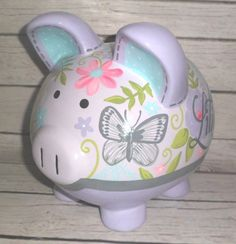 Bella Butterfly Floral Personalized Piggy bank in lavender, grey and aqua Decoupage, Personalized Piggy Bank, Piggy Banks, Cute Piggies, Cute Little Things, Porcelain Ceramics, Paper Mache, Pigs, Floral