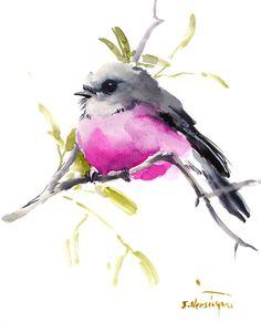 Pink Robin Bird 10 X 8 in original watercolor nursery art, pink gray, nursery…
