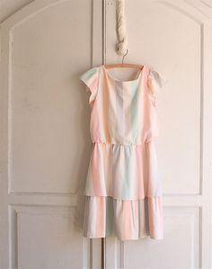 pastel Sherbert striped vintage 80s dress
