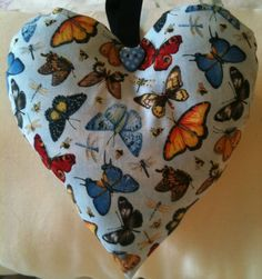 Dragonfly And Butterfly Fabric Heart Shaped Lavender Bag - Handmade