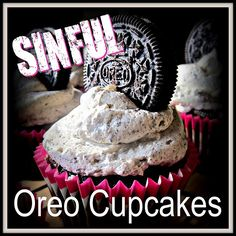 I found a recipe for Oreo cupcakes and instantly gained 10 pounds when I read it. Ingredients: cups all purpose flour ½ cup natur. Oreo Cupcakes, Cheesecake Cupcakes, Cupcake Cakes, Frosting Recipes, Fabulous Foods, Cheesecakes, Sweet Treats, Yummy Food, Sweets