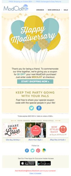 ModCloth Modiversary email anniversary email 2014
