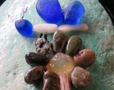pebble art pebbleart painted rock stone ocean beach butterfly flower sea glass agate