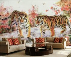 Mighty Tigers Chinese Style Wall Mural, 6-Feet 3-Inch By 4-Feet 1-Inch - Amazon.com #Onlymurals