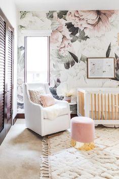 Kids Room – Make Children's Living Space More Enjoyable - Interior Decor and Designing White Nursery, Nursery Room, Girl Nursery, Baby Room, Nursery Ideas, Floral Nursery, Bedroom Décor, Nursery Inspiration, Nursery Decor