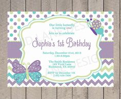 Girl First Birthday Invitation Butterflies by VividLaneDesigns