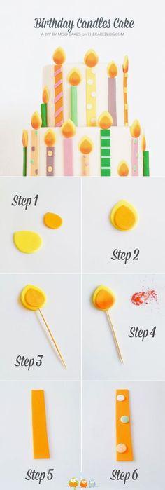 idea per torta finta..... torta con candeline colorate