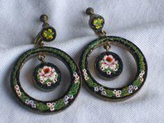Vintage Signed FAP Italy Micromosaic Micro Mosaic Dangle Earrings ID591   eBay