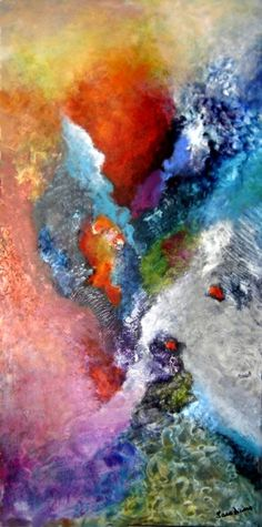 Apoyo mutuo, 2010, oil on canvas with visual textures, 100 x 50 cm. Abstract Expressionism