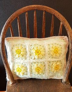 Beautiful handmade micro crochet pillow for Doll's House 1;12 scale or similar.