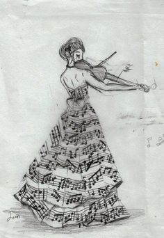 Girl playing music with a music dress on :) Kylie you may like this @Kylie Dyso