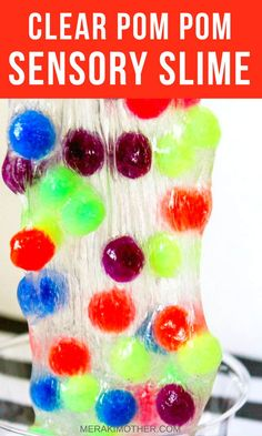How to make clear pompom sensory slime. Craft Projects For Kids, Diy Crafts For Kids, Fun Crafts, Kids Diy, 3 Kids, Art Projects, Daycare Crafts, Family Crafts, Summer Crafts