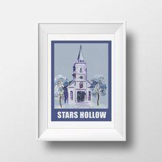 Wall Art Watercolor Stars Hollow PrintGilmore by WatercolorWall