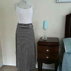 ??J Crew Maxi Skirt NWOT?? Stripes ivory and black J. Crew Skirts Maxi