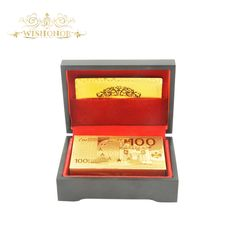 Hot Sale Euro 100 Gold Playing Card Collectible 24k 999.9 Gold Paled Playing Card In Wooden Box