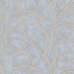 Novia Blue Geometric Swirl Wallpaper