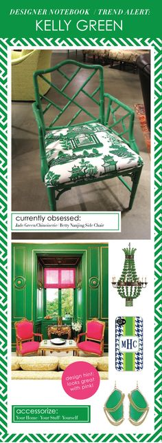 The Bamboo Betty Arm Chair is stunning painted Jade green and dressed in Nanjing Jade by Schumacher.