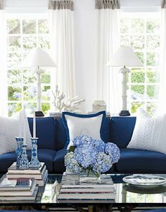 classic country white living room with blue accents - Color of the Month: Cool Cobalt Blue  Tops of draperies, contrast