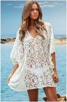 AQ105 Women White Lace Transparent Blouse Half Sleeve Lace Pullover Tops Tropical Holiday Beach Cover Ups. Click visit to buy #Blouse #Shirt #BlouseShirt