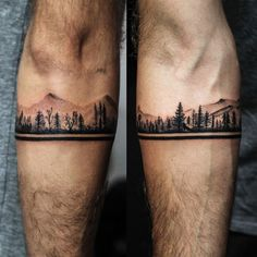 RECYCLE T♻️TTOO Inked by . Have a mysterious and calming picture of pine trees. Pines are slender and at one look, it would… Band Tattoos For Men, Wrist Band Tattoo, Forearm Band Tattoos, Tattoos Arm Mann, Forarm Tattoos, Hand Tattoos, Body Art Tattoos, Tattoos For Guys, Crow Tattoos