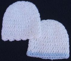 Finished size: Small Preemie - Newborn Materials: 1 ounce sport weight yarn (Bernat's Baby Coordinates White used for example), US size G h... Crochet Preemie Hats, Crochet Baby Hats Free Pattern, Crochet Baby Beanie, Crochet Bebe, Newborn Crochet, Baby Knitting, Crochet Patterns, Free Crochet, Crochet Ideas
