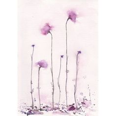 Art Watercolor Painting , Watercolor Flower , Home Decor , Wall decoration Soft Purple  Abstract Flower. $67.00, via Etsy.