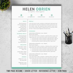 INSTANT DOWNLOAD Professional Resume/CV Template + Cover letter + Reference Letter for MS Word, Super Easy to Edit in MS Word