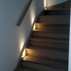Top 60 Best Staircase Lighting Ideas - Illuminated Steps - New Ideas Staircase Design Modern, Rustic Staircase, Narrow Staircase, Spiral Staircases, Staircase Wall Lighting, Staircase Runner, Lights On Stairs, Stair Runners, Wooden Stairs