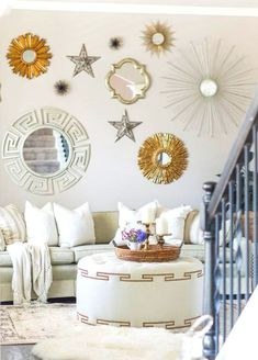 How To Decorate Your Blank Walls: 17 Inspirational Chic Ideas - Life Style - Health - DIY Fabric Wall Decor, Wall Shelf Decor, Wall Decor Design, Room Decor Bedroom, Living Room Decor, Bedroom Ideas, Starburst Wall Decor, Starburst Mirror, Tableaux D'inspiration