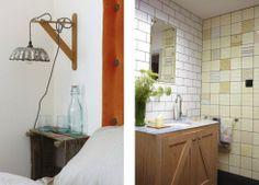 Vintage tiles bathroom lighting