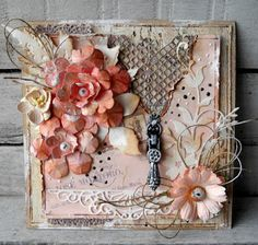Lovely paper craft mixed media floral shabby chic diy