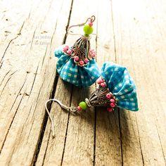Pendant fiber colorful earrings plaid fabric by LesJardinsdeKahlan