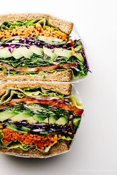 The ultimate veggie sandwich -- loaded with vegetables, and so colorful!
